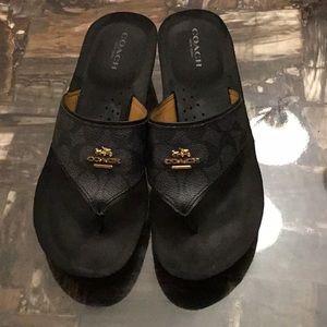 Black Coach Thong Sandals